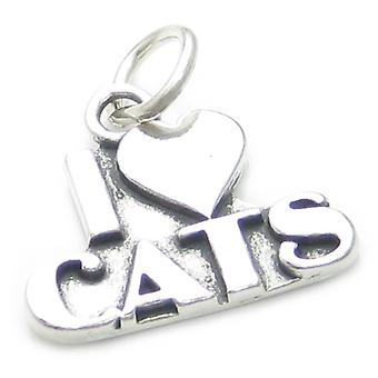 I Love Cats Sterling Silver Charm .925 X 1 Cat Lover Loving Charms - 4145