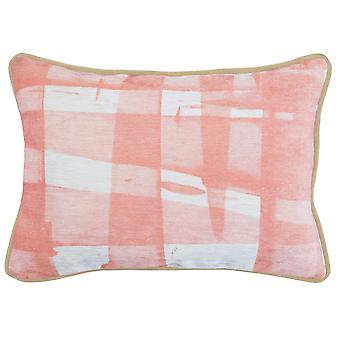 Oreiller de jet de tissu avec le modèle imprimé numérique de plaid, rose et blanc