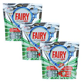 3 x Fairy Platinum All in One 14 Tablets Wrapless Dishwasher Dish Glass Silver Cleaner