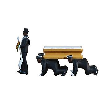 1:64 High Simulation Plastic Ghana Funeral Coffin Dancing Pallbearer Team Model