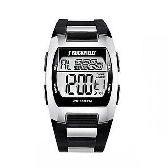 Watch Ruckfield 685012 - Multifunction Digital Bo tier Silicone Bracelet M tal Black and Silver Men