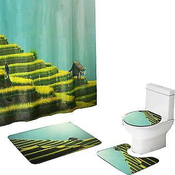 Green Printing Waterproof Shower Curtain Set