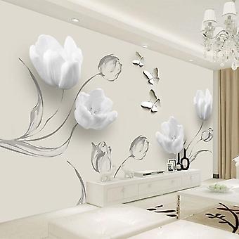 3D خلفية الحديثة زهرة الفراشة التوليب صور الجداريات - غرفة المعيشة التلفزيون، أريكة