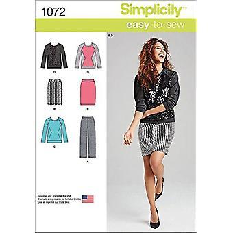 enkelhet sy mønster 1072 savner skjørt bukser bukser størrelse 8-16 uncut