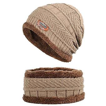 Unisex Fashion Winter Thick Warm Knitted Hat Beanie Hat Fleece Lined Neck