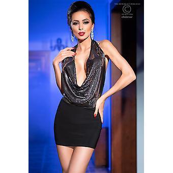 Sukienka mini CR4227 czarna/srebrna