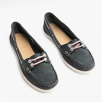 Chatham Harper Ladies Leather Boat Shoes Navy/pink