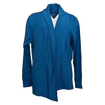 Cuddl Duds Women's Sweater Comfortwear Wrap Belt Cardigan Blue A381713