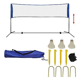 set de filet de badminton vidaXL avec des balles à ressort 300 x 155 cm