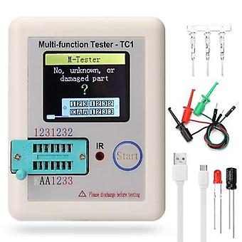 Full Color Screen Graphic Display Multifunctional Transistor Tester NPN Transistor N-channel P-channel FET Diode Resistance Inductance Capacitance SCR Battery Automatic Measurement Detector