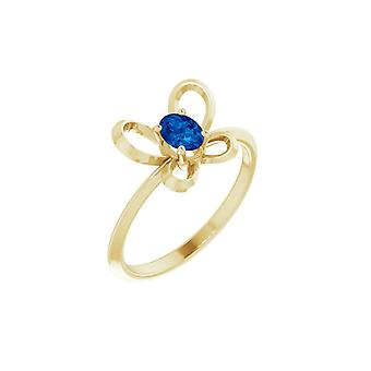 14k Yellow Gold September Oval 4x3mm Polished Butterfly Angel Wings Youth Ring Size 3 - 1.1 Grams