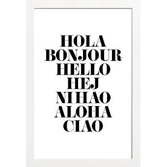 JUNIQE Print -  Hellos - Zitate & Slogans Poster in Schwarz & Weiß