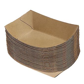 Toyvian 50pcs Ship Shape Take Out Containers Easy Fold Box Kraft Paper Box Lunch Salad Carton For Party