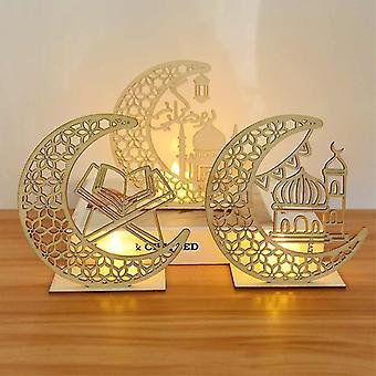 EID Mubarak Holzanhänger mit LED Kerzen Licht Ramadan Dekorationen für zu Hause Islamische muslimische Partei