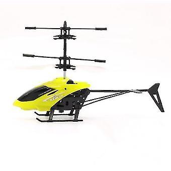 barn utendørs håndsensor kontroll ledet blinkende ball helikopter fly (gul)