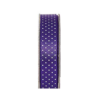 LAST FEW - 3m Deep Purple 10mm Wide Polka Dotted Satin Craft Ribbon