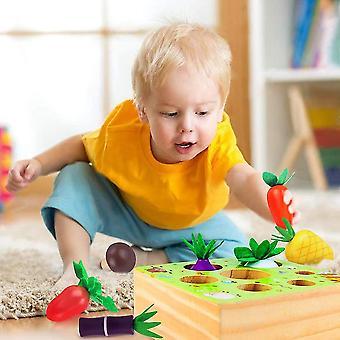 Montessori träleksaker för grönsaker och frukt skörd leksak