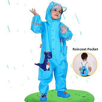 ילדים בני 1-10 דינוזאורים כחולים מעיל גשם סרבלים חיצוניים עמידים למים בגדי גשם תינוק ילד מעיל גשם וחליפת מכנסי גשם