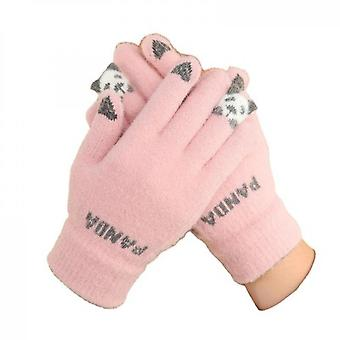 Red Panda Claw Cotton Knitted Gloves Pink