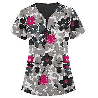Working Blouse Floral Printing Pocket Work Wear Nurse Uniforme
