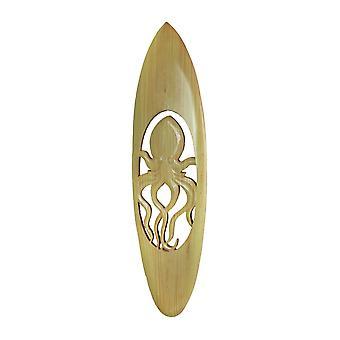 Handgesneden Cut-Out Octopus Houten Surfplank Decoratieve Wandhanger 32 Inch - Natuurlijke Afwerking