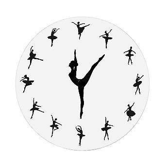 1 Piece Charming Ballerina Wall Clock Large Clock Ballet Dancing Girl Needle Hand Needle Wall Watch Living Room Home Decor