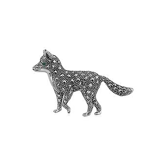 Gemondo Sterling Silver Emerald & Marcasite Fox Brooch