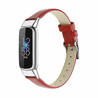 for Fitbit Luxe / Special Edition Band Strap Genuine Leather Replacement Wrist[Red]