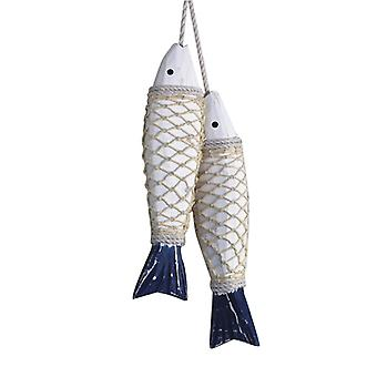 Vintage Old Wall Hanging Ornaments Wooden Carved Fish Skewers,s
