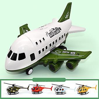 Grand modèle de jouet d'avion pour enfants vert avec hélicoptère en alliage 4pcs