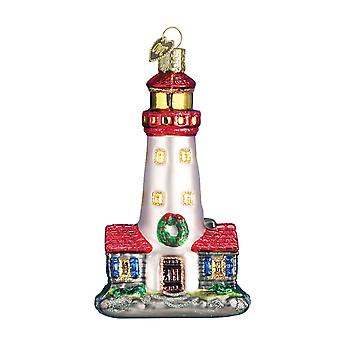 Old World Christmas Decked Out for Holidays Lighthouse Glass Ornament