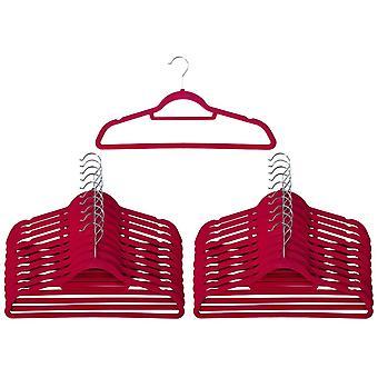 20 rosa Non Slip veludo cabides com gravata cinto porta-lenço - Ultra slim design