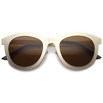Women's Metal Frame Horn Rimmed Round Colored Mirror Cat Eye Sunglasses 50mm