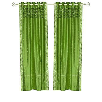 Wald-grün Hand gearbeitete Öse oben schiere Sari Vorhang Panel - Stück