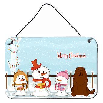 Merry Christmas Carolers Caucasian Shepherd Dog Wall or Door Hanging Prints