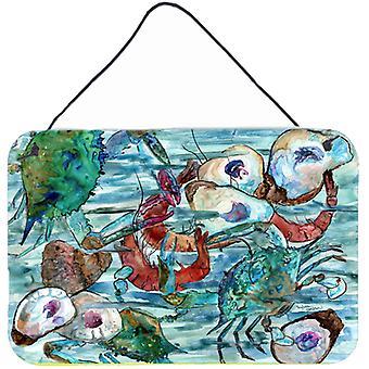 Wodniste krewetki, kraby i ostrygi ściany lub drzwi wiszące drukuje