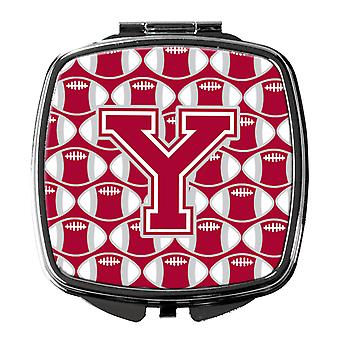 Letter Y Football Crimson, grey and white Compact Mirror