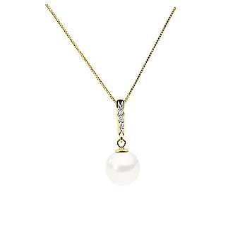 Halsband pärla av kultur av vatten dunvit, diamond och gul guld 375/1000