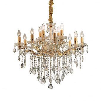 Ideal Lux Florian Gold Metall und klaren Kristall 12 Licht Kronleuchter Licht