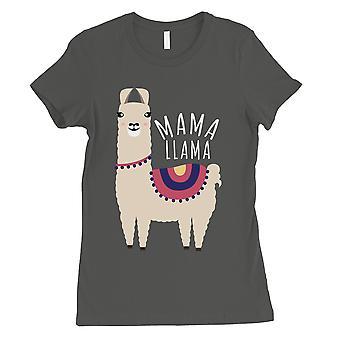 Mama Llama Womens Cool Grey Short Sleeve Tee Shirt Mom of Boys Gift