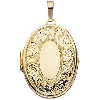 Hanger medaillon ovaal 925 sterling zilver verguld 2 foto's openen