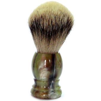 Guld Badger Rakborste med grävling silver spets, plast handtag