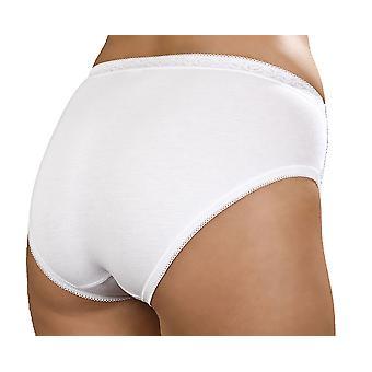 Panie Czesane bawełniany & koronki Panel High Leg Stretch Brief UK16/EU44 Biały 3PK