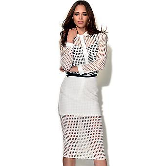 RARE Beyonce White Chiffon Laser Cut Skirt