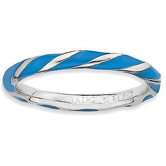925 Sterling Silver Polished Rhodium-plated Twisted Blue Enameled 2.4 x 2.0mm Stackable Ring - Ring Size: 5 to 10