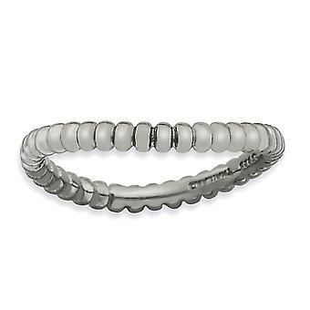 2.25mm 925 Sterling Silver Rhodium verguld Stackable Expressions Gepolijst Zwarte plaat Wave Ring Sieraden Geschenken voor vrouwen -
