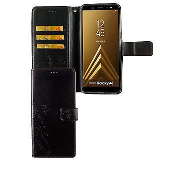 Samsung Galaxy A6 2018 mobilnych pokrowiec pokrywy Flip case przedziału czarny