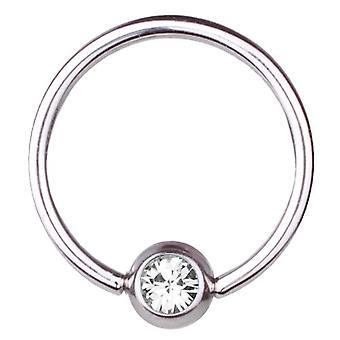 BCR Titan Piercing, bollen stängning Ring 1,6 mm, SWAROVSKI element vit | 8-16