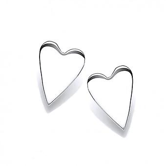 Cavendish francese lungo argento cuore Stud Earrings
