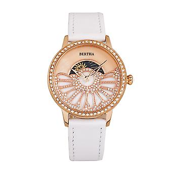 Bertha Adaline Mother-Of-Pearl Leather-Band Watch - White